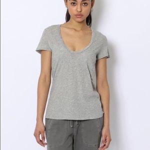 James Perse Grey Scoop Neck Tshirt Medium